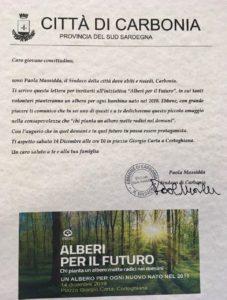 """Il sindaco di Carbonia ha scritto una lettera ai bambini nati nel 2018 per invitarli all'iniziativa """"Alberi per il futuro""""."""