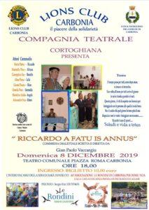 """Domenica 8 dicembre il Teatro Centrale di Carbonia ospiterà lo spettacolo di beneficenza in lingua sarda """"Riccardo a fatu is annus""""."""