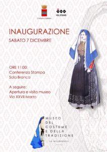 Sabato 7 dicembre, ad Iglesias, verrà inaugurato il Museo del Costume e della Tradizione.