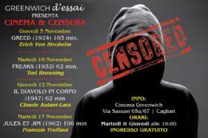 """Prende il via domani, giovedì 5 dicembre, al Greenwich di Cagliari, la rassegna """"Cinema e censura""""."""