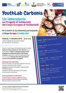"""Mercoledì 11 dicembre, ilCentro Eurodesk ospiterà """"YouthLab Carbonia"""", un laboratorio sui progetti del Corpo Europeo di Solidarietà."""