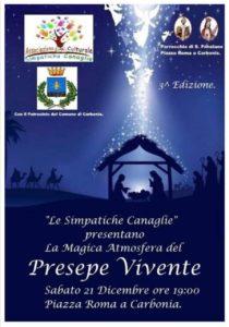 """Sabato 21 dicembre, in piazza Roma, a Carbonia, si ricreerà la magica atmosfera del """"Presepe vivente"""" con le """"Simpatiche canaglie""""."""