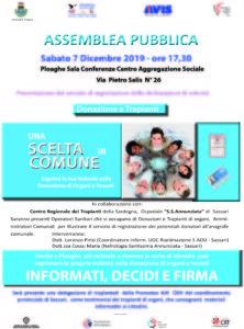 Sabato 7 dicembre, a Ploaghe, si svolgerà un'assemblea pubblica per informare sui trapianti di organi e promuovere la donazione.