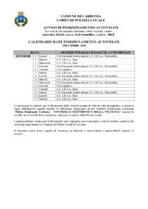Le postazioni autovelox del comune di Carbonia per il mese di dicembre 2019.