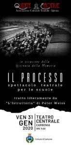 """Venerdì 31 gennaio, al Centrale di Carbonia, lo spettacolo """"Il processo"""" per gli studenti."""