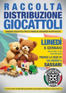 Questa sera i militanti di CasaPound hanno distribuito calze della befana, giochi e generi alimentari alle famiglie sassaresi in difficoltà.