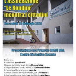 """Mercoledì 26 febbraio, a Sant'Antioco, l'associazione """"Le Rondini"""" presenterà il progetto """"Domo Noa"""""""