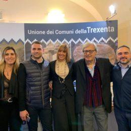 Vittorio Sgarbi in visita allo stand della Trexenta a Tourisma 2020, a Firenze