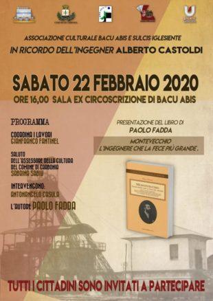 Sabato 22 febbraio, a Bacu Abis, verrà presentato il libro sull'ing. Alberto Castoldi, di Paolo Fadda