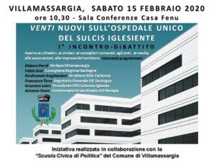Villamassargia ospita stamane un incontro-dibattito sul progetto dell'ospedale unico del Sulcis Iglesiente