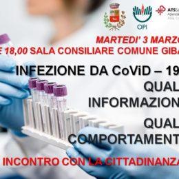 Martedì 3 marzo, nella sala consiliare del comune di Giba, si parlerà di Coronavirus