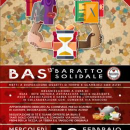 Mercoledì 12 febbraio, alle ore 18.00, a Carbonia, nuovo appuntamento con il BAS – Baratto Solidale dedicato al Carnevale