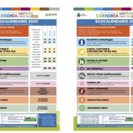 In distribuzione, a Carbonia, i nuovi calendari della raccolta differenziata in vigore dal 1° aprile 2020.