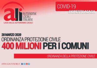 La Protezione civile ha emanato l'ordinanza che prevede lo stanziamento di 400 milioni di euro per i Comuni italiani