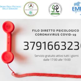 """A partire dalle 17.00 sarà attivo il""""3791663230Filo diretto psicologico Coronavirus COVID-19"""""""