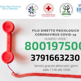 E' attivo da ieri anche il numero verde 800197500, per ilFilo diretto psicologico Coronavirus COVID-19