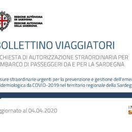 La Regione Sardegna ha aggiornato anche oggi il Bollettino Viaggiatori