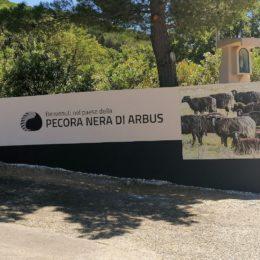"Arbus: l'ingresso del paese ospita il marchio ""Pecora Nera di Arbus"""