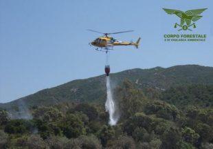 Incendio nelle campagne di Villacidro, in azione un elicottero ed una pattuglia del Corpo forestale