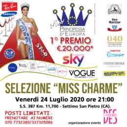 Venerdì 24 luglio 2020, alle ore 21.00, all'Hotel Ristorante CHARME (Settimo San Pietro) le selezioni sarde per Miss Principessa d'Europa