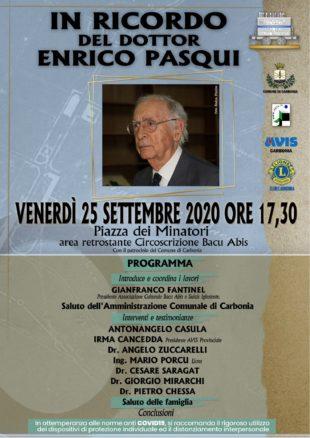 Venerdì 25 settembre, a Bacu Abis, si terrà un'iniziativa pubblica per ricordare il dottor Enrico Pasqui