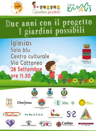 """Si terrà lunedì 28 settembre, al Centro Culturale di via Cattaneo, a Iglesias, la conferenza """"Due anni con i Giardini Possibili""""."""